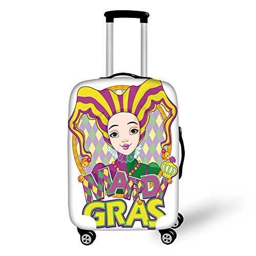 Travel Luggage Cover Suitcase Protector,Mardi Gras,Carnival Girl in Harlequin Costume and Hat Cartoon Fat Tuesday Theme,Yellow Purple Green,for Travel for $<!--$29.99-->