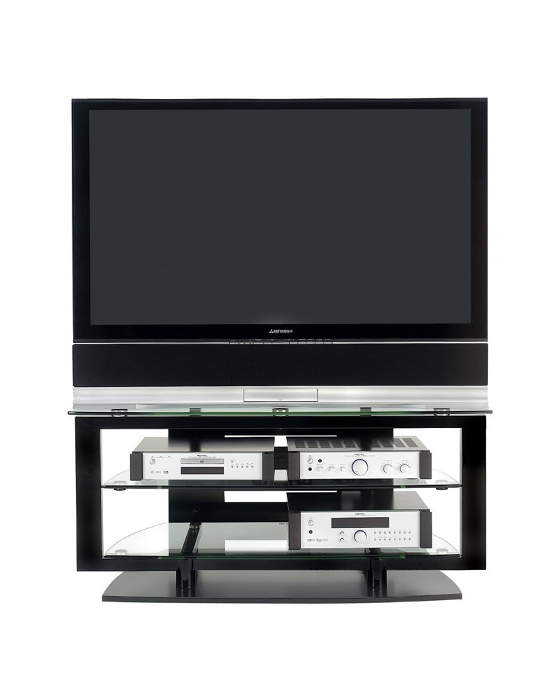 BDI Icon 9425, Double Wide Open TV Stand for Corner, Gloss Black