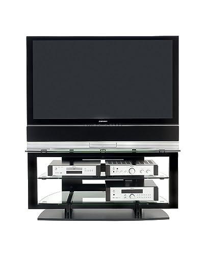 BDI Icon 9425, Double Wide Open TV Stand for Corner, Gloss Black