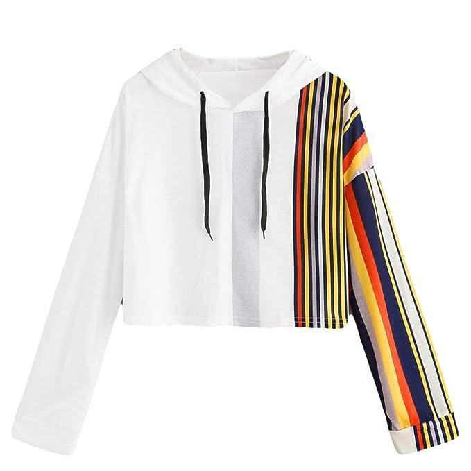 Mujer Sudaderas, ASHOP Blouses Campesinas Embroidery Sweatshirt Casual Sudadera Mujer Cremallera Corta Top Deporte (