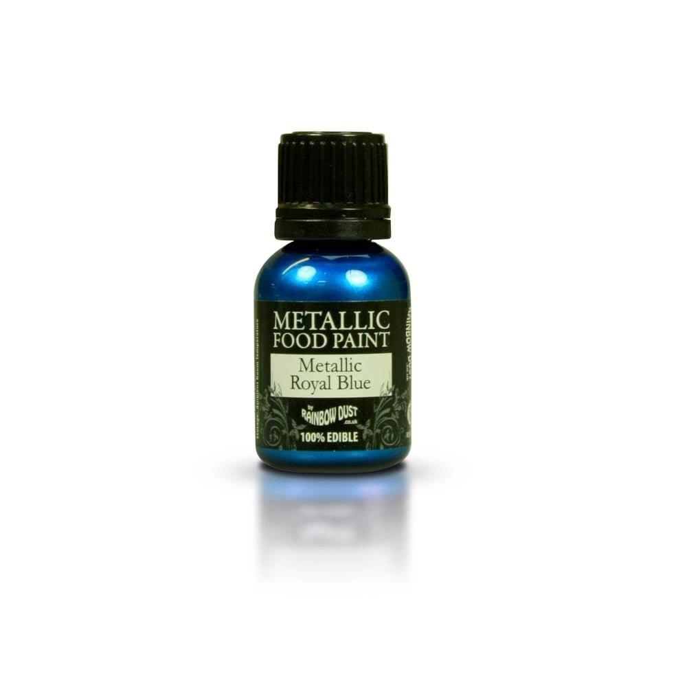 Single pot of Rainbow Dust Royal Blue Edible Metallic Food Paint & 20ml Single of tube of Edible glue