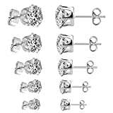 5 sizes of Spectacular Cubic Zirconia Set in Hypoallergenic Stainless Steel Stud Earrings for Men, Women, Boys and Girls, Stones are 3, 4, 5, 6 and 7mm