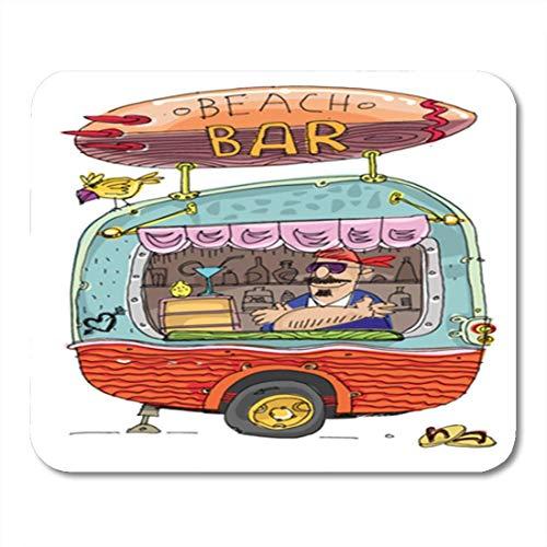 HZMJPAD Beard Beach Bar Cartoon Caboose Camping Caribbean Catering Coast Mouse Pad 8.6 X 7.1 in