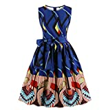 Wellwits Women's Waist Tie Stripes Ethnic African Print Vintage Swing Dress M Navy
