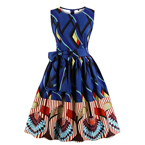 - Wellwits Women's Waist Tie Stripes Ethnic African Print Vintage Swing Dress M
