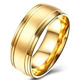Men's Wedding Bands Classic 8MM Titanium Steel KC Gold Plated Promise Rings for Him High Polish Comfort Fit Size 10