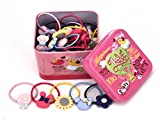 pigtail ties - 40 pcs Tin Storage:Elastic Princess Cute Hair Bows Hair Bands Stretch Hair Holder Chromatic Set for Baby Girls Children Toddlers Kids Gift (40 PCS, Red Tin)