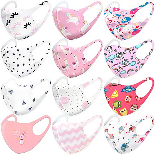 12 Pack Unisex Children Dust Protection, Breathable, Washable and Reusable Face Masks, Boys & Girls (12 PACK, SET IV)