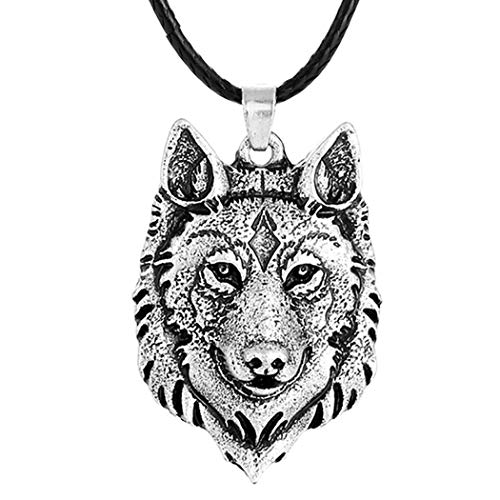 (Boormanie Odin Viking Wolf Necklace fo Women Men,Sterling Silver Plated 3D Dog Wolf Amulet Pendant Necklace)
