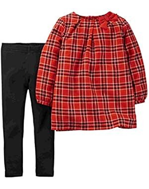 Carters Infant & Toddler Girls Red Plaid Shirt & Black Leggings Pants Outfit