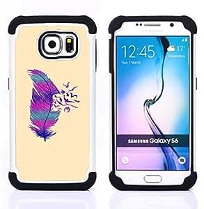 - feather birds abstract deep minimalist - - Doble capa caja de la armadura Defender FOR Samsung Galaxy S6 G9200 RetroCandy