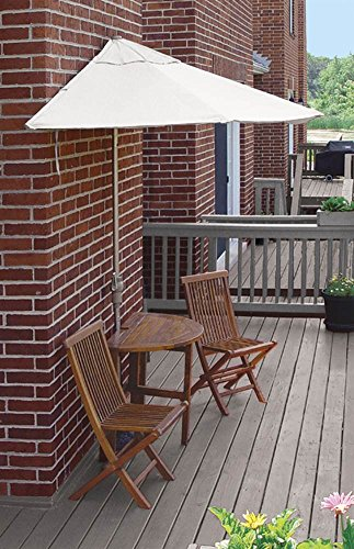 Wall Natural Olefin Umbrella (Blue Star Group Terrace Mates Bistro Deluxe Table Set w/ 7.5'-Wide OFF-THE-WALL BRELLA - Natural Olefin Canopy)