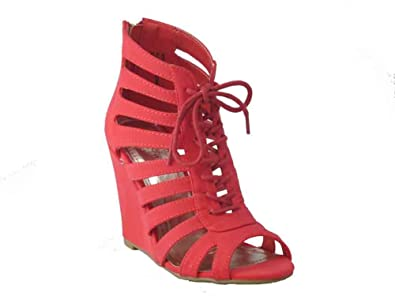fa6b0e6acfca BAMBOO Royce 03 Womens Caged Lace Up Open Toe Wedge Sandal Cayenne 6