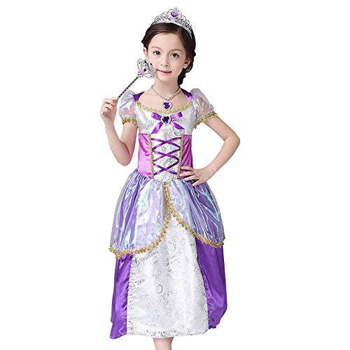 Disney Princess Rapunzel Inspired by Tangled Dress Costume for Girls 4-10 (5/6 - L) (Tangled Rapunzel Dress)