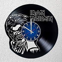 IRON MAIDEN Art 12 inches/30 cm Vinyl Record Wall Clock | IRON MAIDEN Gift | IRON MAIDEN Music Clock | BOYS Room Decor Idea Home Art Party GIFT, IRON MAIDEN Birthday Gift