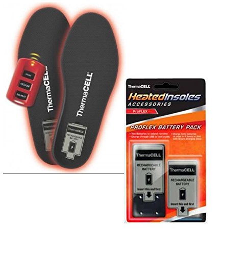 ThermaCELL ProFLEX Remote Controlled Flexible Heated Shoe Insole with Rechargeable Battery and Additional Battery (2 Pack), Medium