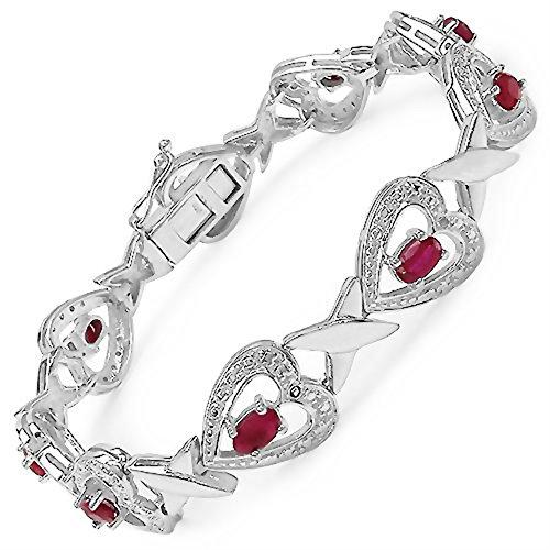 """Sterling Silver Rubis Ovale Cut [7.5 """"/19.05 mm] Bracelet Tennis à 3.15 Carats pour les femmes"""
