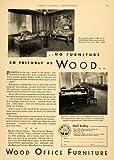 1930 Ad Wood Office Furniture G. E. Barrett New York - Original Print Ad