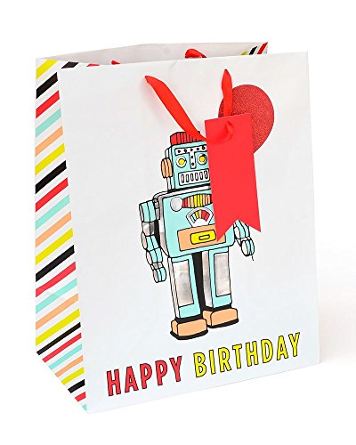 Zoomerang Robot Jumbo Birthday Gift Bag & Tag With Silver Foil & Red ()