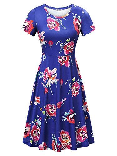 (HUHOT Women Vintage Summer Dresses Sun Dresses Flower-26 Large)