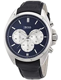 Mens Chronograph Stainless Steel Leather Quartz Watch 1512882