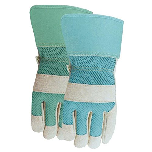 Size Medium Midwest 534D4 Suede Leather palm Gloves Ladies Blue MIDWEST QUALITY GLOVES