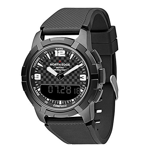 XIEXIE Outdoor Sport Smart Watch Men's Dual Time Display Multifunction Waterproof Wrist Watches Complete Calendar Compass Pressure Measurement Watches
