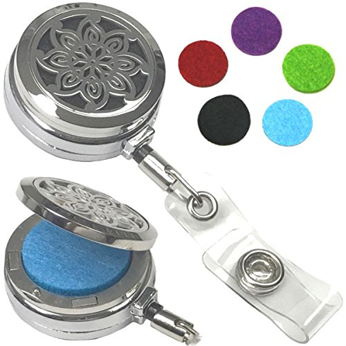 Decorative Aromatherapy Essential Oils Stainless Steel Diffuser ID Badge Holders (Pinwheel Belt Clip HD)