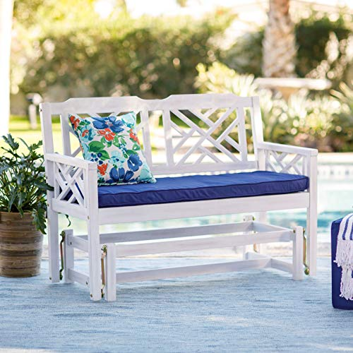Shabby Chic Modern Farmhouse White Wash Finish Wooden Glider Sofa Outdoor Wood Garden Bench Furniture 45L x 18W x 36H in.