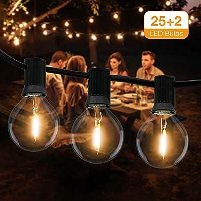 Guirnaldas Luces Exterior, Litogo Cadena de Luces 9,5m G40 25+2 LED Guirnalda Bombillas IP55 Impermeable Luces Jardín Perfecto Para Navidad Trasero Patio Cafe Fiesta Boda Decoración (Blanco Cálido): Amazon.es: Iluminación