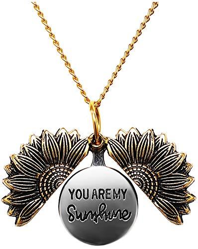 Women Sunflower Necklace You Are My Sunshine Engraved Locket Necklace Pendant