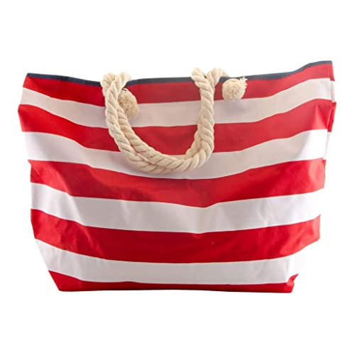 b217169397402 TP Strandtasche - Beach Bag XXL - Streifen - 3 Farben - Badetasche (Rot)