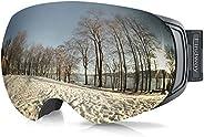 Findway Ski Goggles, OTG Snow Snowboard Goggles Magnet Lens for Men Women Teens