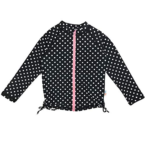 (SwimZip Girls UPF 50+ Long Sleeve Rash Guard Swim Shirt | Black Polka Dot 12-14)