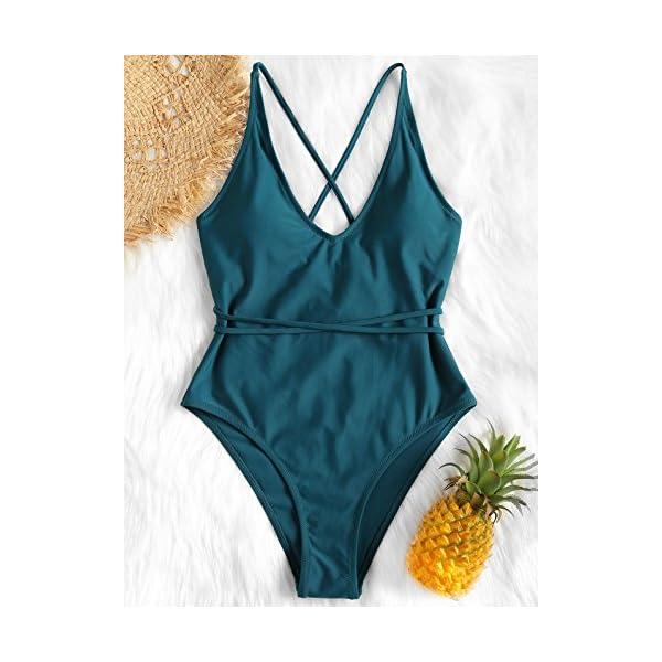 ZAFUL Set Bikini Donna Imbottito, Costume da Bagno Intero, Costume da Bagno con Schiena Aperta, Pushup Sexy Beachwear 2 spesavip