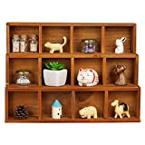 Wooden Storage Box, XSHION 16 inch Display Cabinet Vintage Wall Cabinet Decor for Living Room 3 Layers Ornaments Display