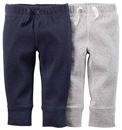 Carters Baby Boys' Solid Pants - 2 Pack (9 Months)