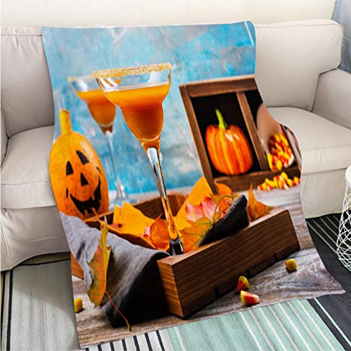 BEICICI Art Design Photos Cool Quilt Autumn Pumpkin Margarita Cocktail with Halloween Decor Living Room/Bedroom Warm Blanket -