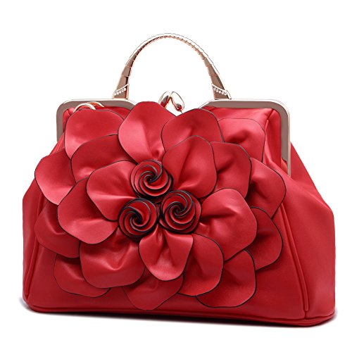 Ruiatoo Women's Handbags 3D Flower Satchel Bags Formal Party Wedding Tote Purses with Detachable Shoulder Strap (Red)
