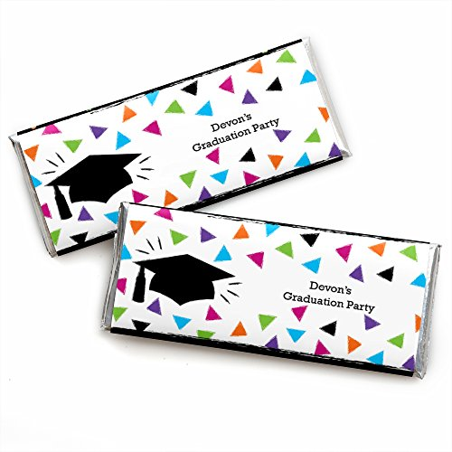 (Custom Hats Off Grad - Personalized Graduation Party Candy Bar Wrappers - Set of 24)