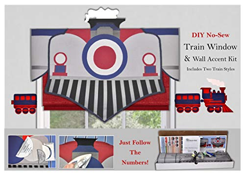 Window Treatment, Children's Train Valance, No-Sew, Room Decorating Kit ()