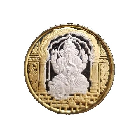 5gms Lord/God Ganesha & Om, 999 Pure Silver Religion Coin for Event Gifts, Return Gifts for Wealth (5 Grams)