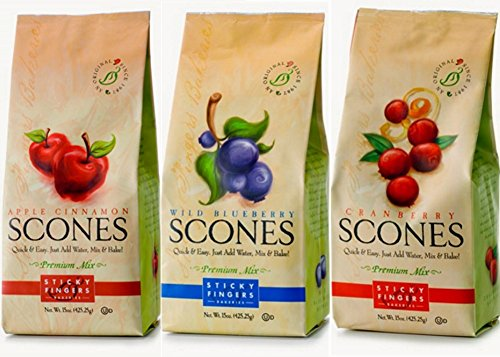 Sticky Fingers Premium All Natural Scone Mix Trio Bundle (Apple Cinnamon, Wild Blueberry, Cranberry)