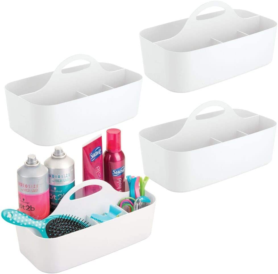 mDesign Plastic Portable Storage Organizer Caddy Tote - Divided Basket Bin with Handle for Bathroom, Dorm Room - Holds Hand Soap, Body Wash, Shampoo, Conditioner, Lotion - Large - 4 Pack - White