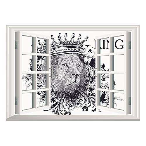 SCOCICI Window Frame Style Home Decor Art Removable Wall Sticker/King,Reign of The Jungle Forest Symbol of Courage Safari Animal Lion Grunge Design,Dark Blue White/Wall Sticker Mural (Twin Courage)