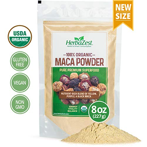 Maca Powder Organic - Peruvian Premium Blend of Yellow, Purple & Black Maca - Vegan & USDA Certified - 8oz (227g) - Perfect for Smoothies, Juices, Baking, Yogurt & Cereal