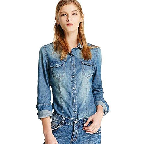 Deargles Lady Long Sleeve Button Down Denim Shirt Jean Lapel Slim Blouse Belle Blue S