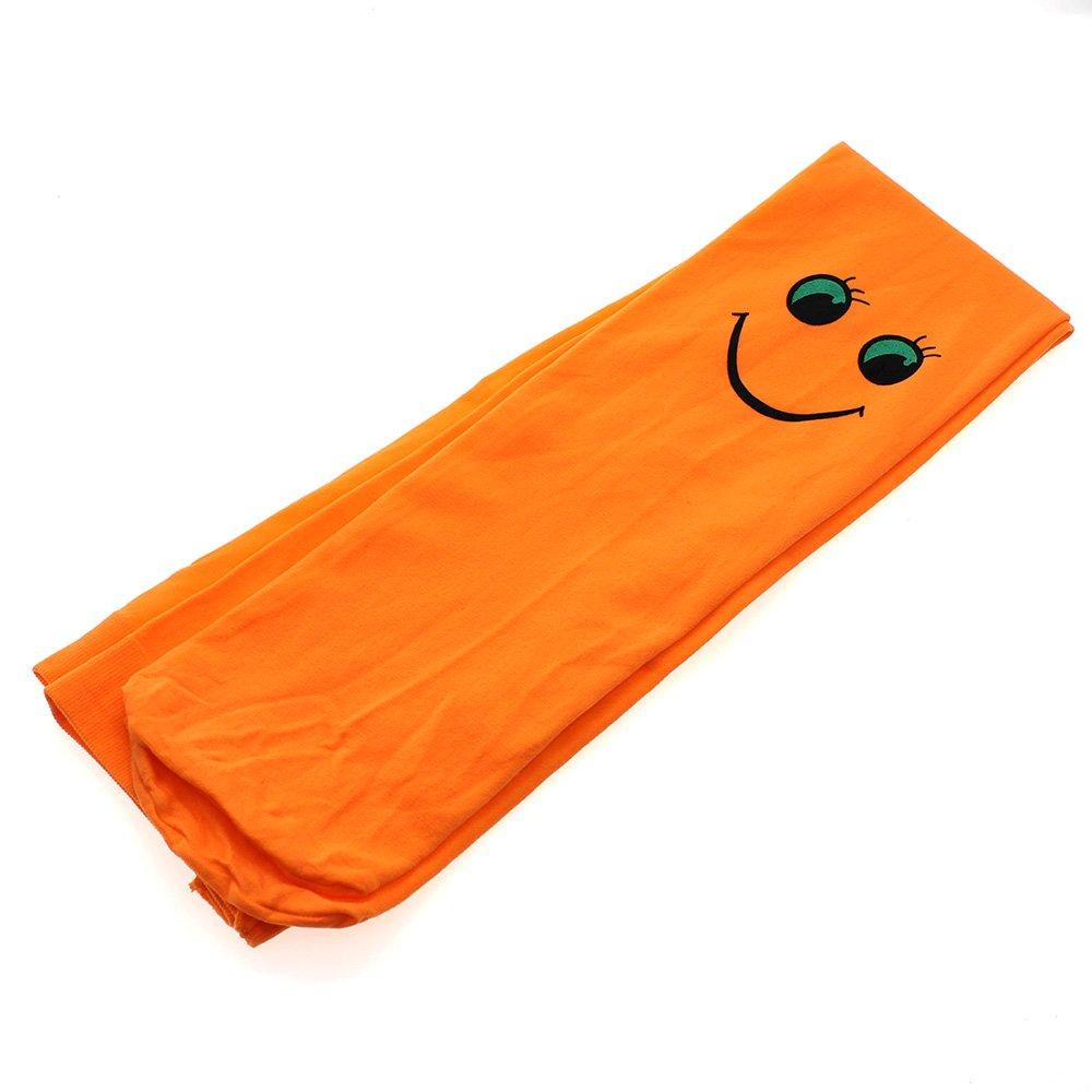 Kid Girl Breathable Smile Face Soft Velvet Ballet Pantyhose Socks Orange