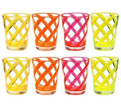 QG 8 pc Acrylic 16 Ounce Neon Color Stripes Juice Cup with Clear Heavy Base Plastic Tumbler Set in 4 Assorted Colors