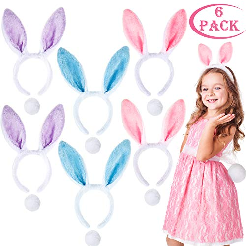 Whaline 6 Set Bunny Ears Headband Plush Rabbit Hair Bands with Rabbit Tail for Easter Party Favor Costume Cosplay Accessory (3 Colors)